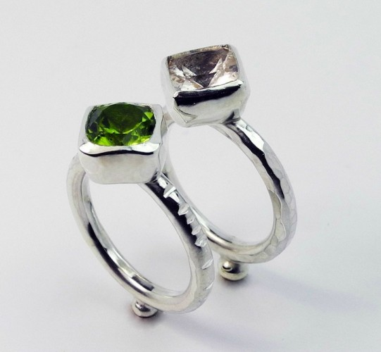 Juno rings_morganite and peridot in silver