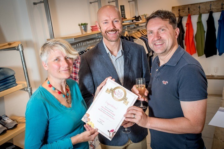 Muddy Stilettos Best Deli award - From left Sue Tucker from Muddy Stilettos Somerset and Jason and John Rice Lewis from Langport Stores.