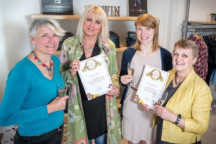 Muddy Stilettos Frome awards. From left Sue Tucker from Muddy Stilettos Somerset, Ellie Swinhoe from Eleanor Christine Jewellery and Karin and Abi from Hunting Raven Books.