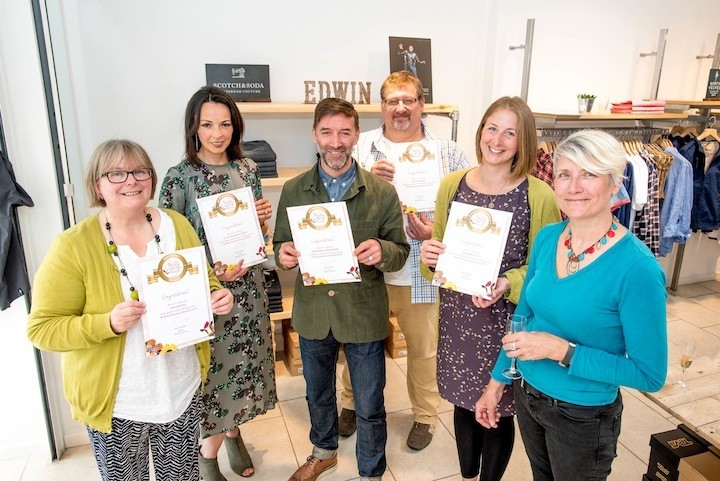 Muddy Stilettos Taunton Awards from left - Catherine from Ginger Fig, Sarah from Coco Blue Boutique, Tony from Merchant Menswear, Nick from The Chillees, Susie from Rocket & Co and Sue Tucker from Muddy Stilettos Somerset.
