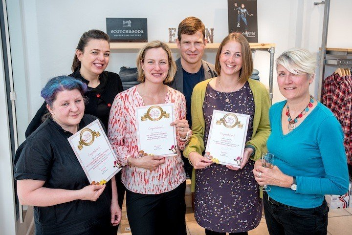 Muddy Stilettos Wellington awards from left - Stacy and Laura from The Complementary Therapy Centre at Nurtured by Nature, Cato and Sean Cooper from The Emporium Somerset, Susie from Rocket & Co and Sue Tucker from Muddy Stilettos Somerset.