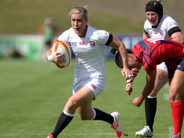 Danielle Waterman in action. England v Spain Pool A match at WRWC 2014 at Centre National de Rugby, Marcoussis, France, on 5th August 2014