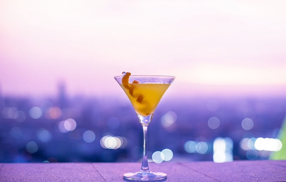 rooftop cosmopolitan glass orange