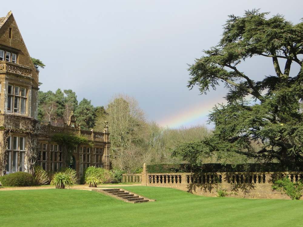 victorian building with formal gardens, manicure lawns, stone steps. cedar tree and rainbow private school north perrott crewkerne