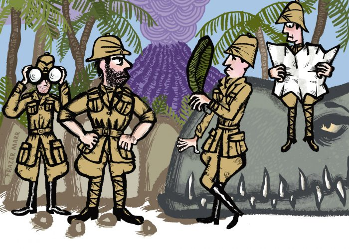 Cartoon illustatration of four men in the jungle wearing pith helmet, holding a map and binoculars and a giant dinosaur