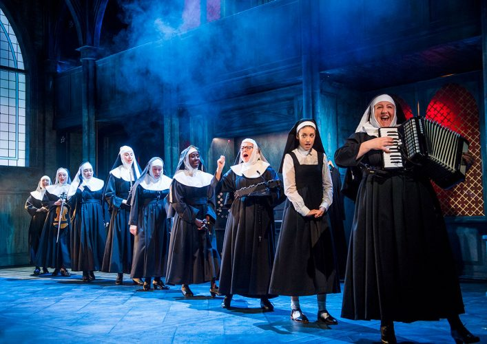 Line of singing nuns