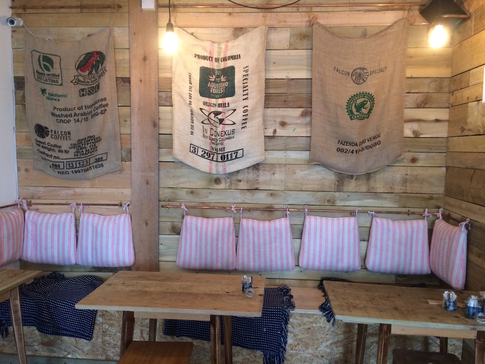 chipboard seating coffee sacks cafe