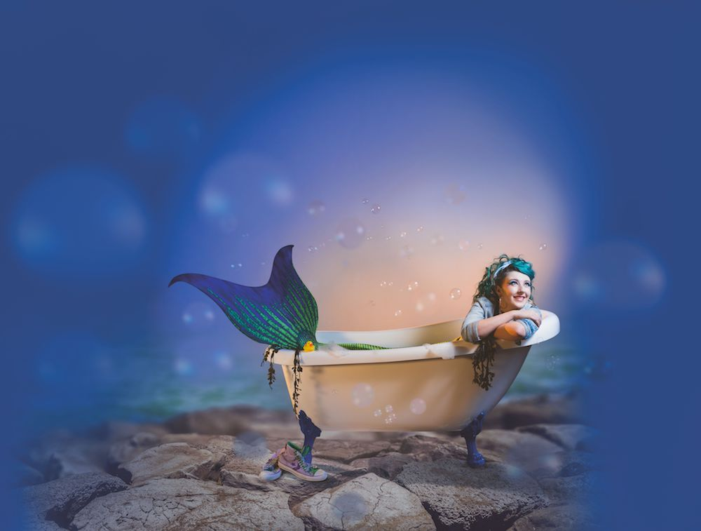 Mermaid in a bath tub