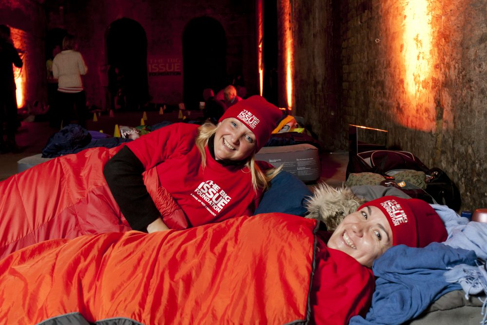 Big Issue fund raising women sleeping bags