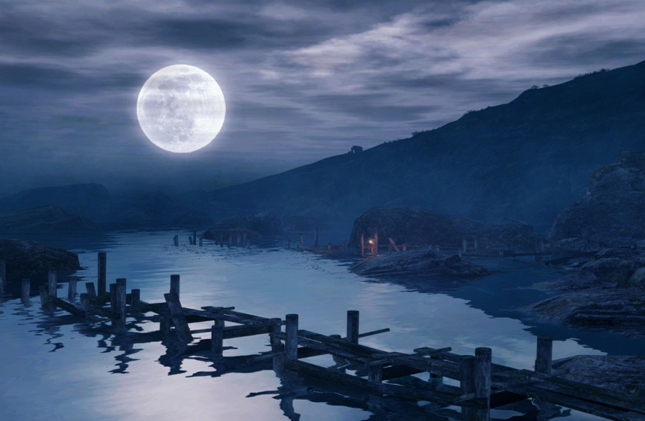 video gamescape moon water