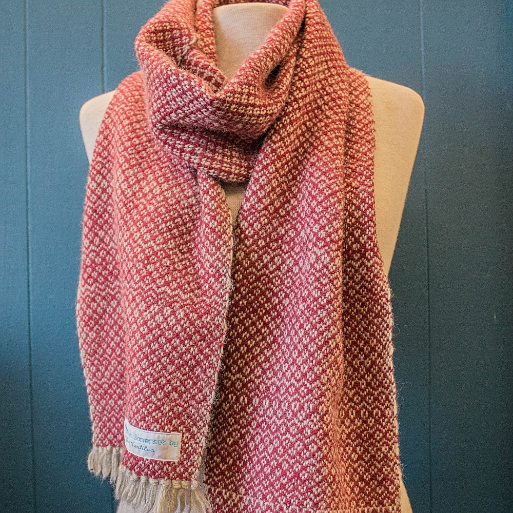 handwoven red wool scarf