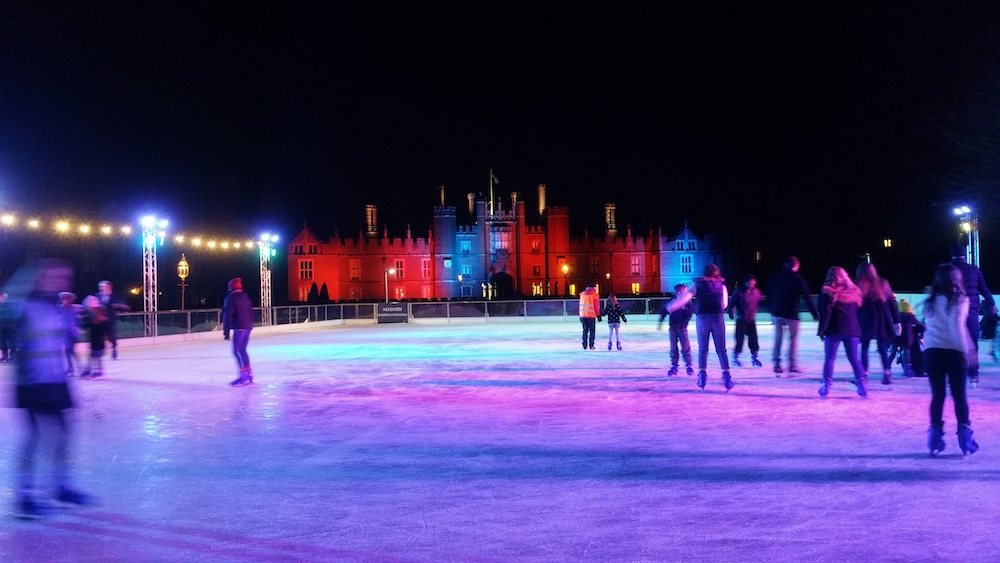 ice rink at night purple skating