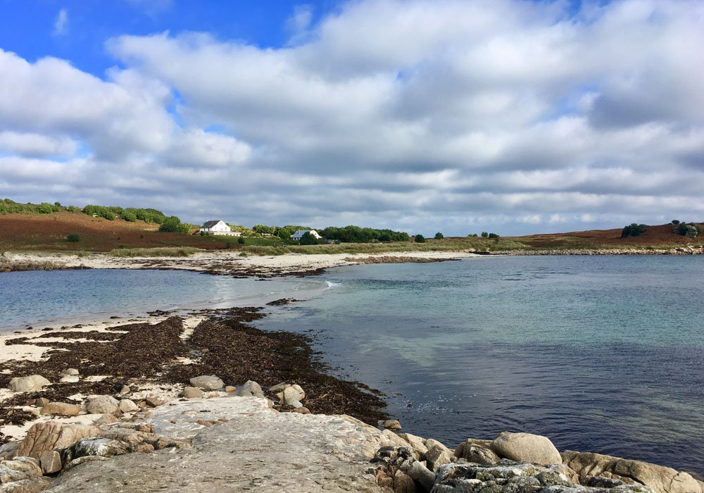 Scilly isles with sea and sky