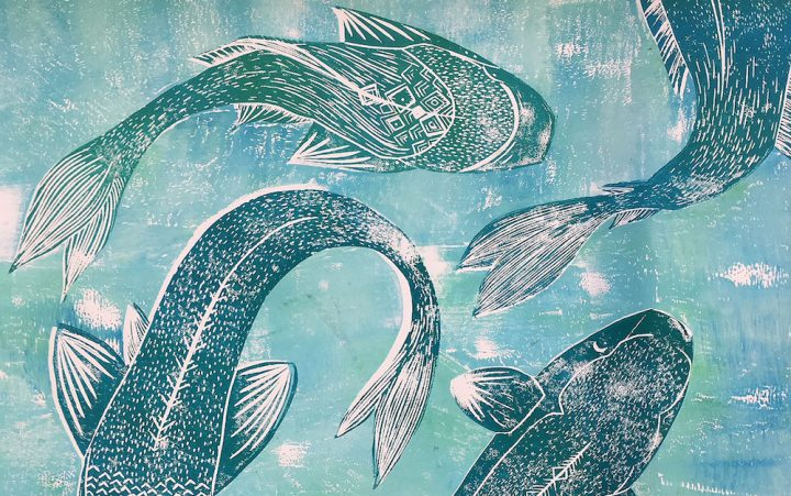 blue fish etching print artwork