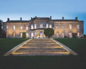 Somerset country house with steps lit up at night