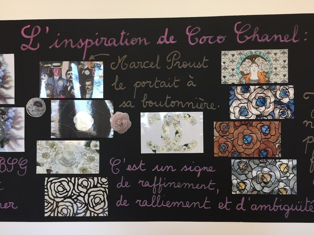 collage with photos and french words