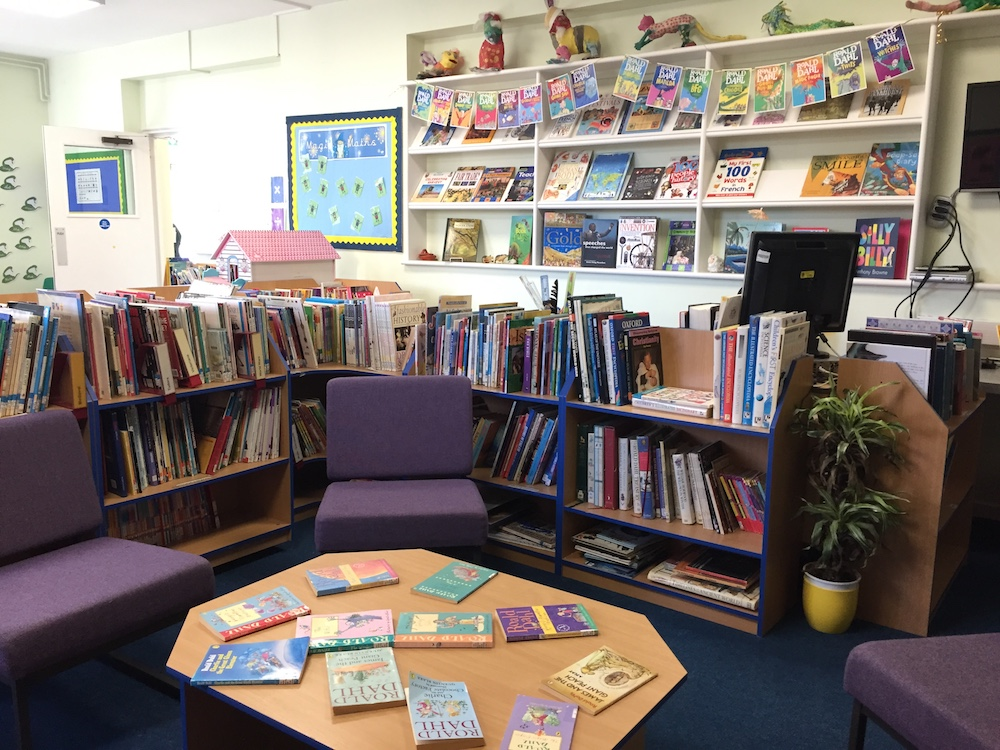 school library with comfty chairs and books