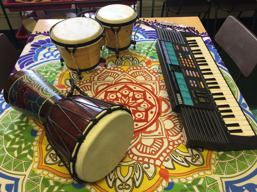 bongo drums and keyboards