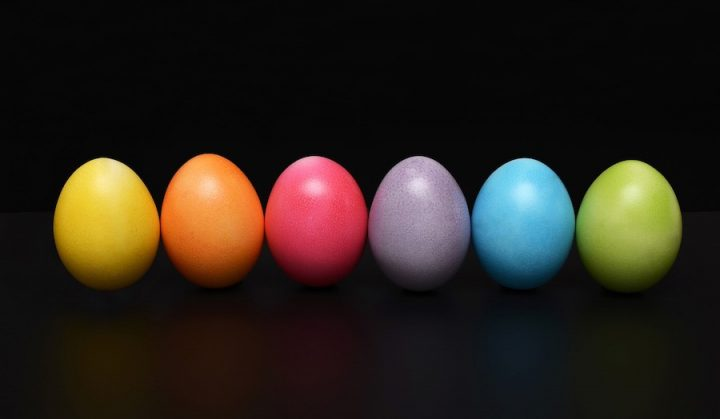 row of coloured easter eggs