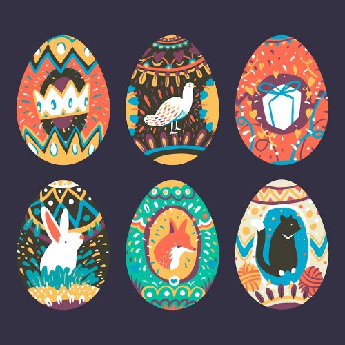 coloured illustrations of easter eggs