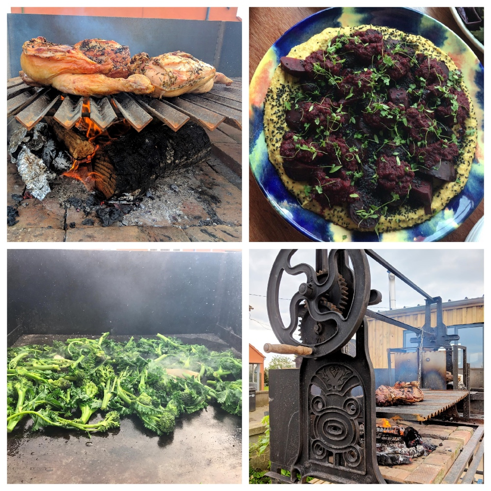 collage of meat roasting on a grill and salads