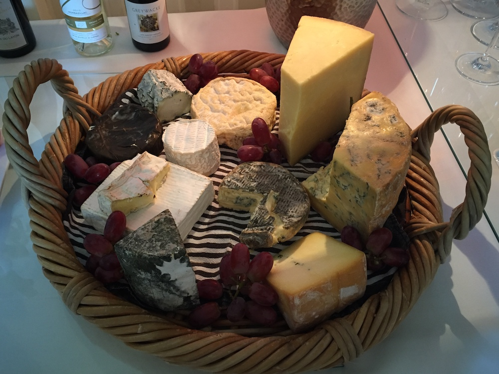 tray of assorted west country cheeses