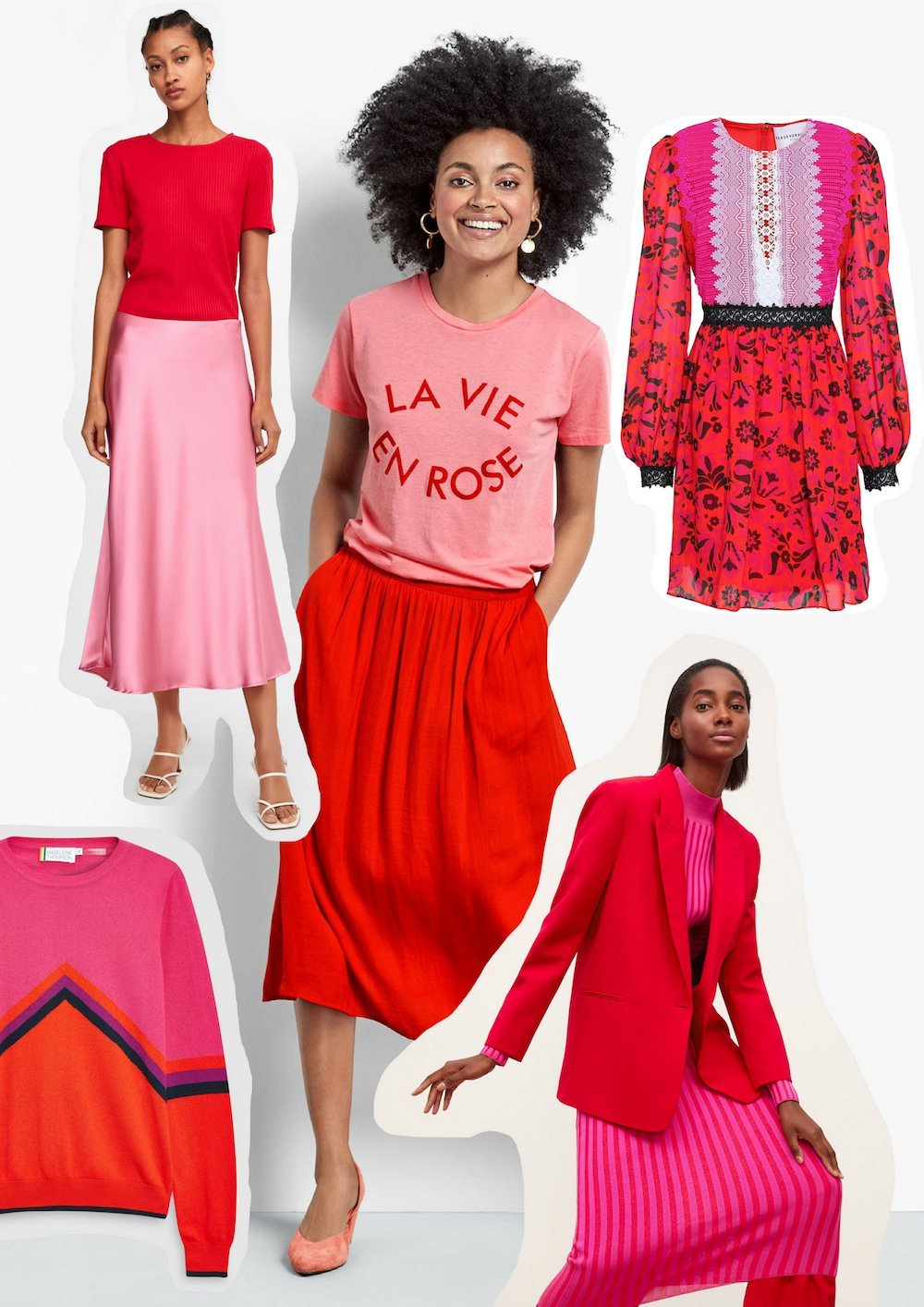 women wearing fashionable red and pink clothes