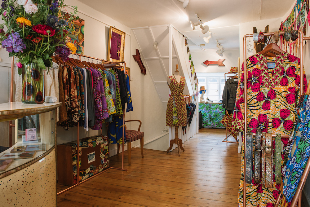 shop with brightly coloured African print clothing