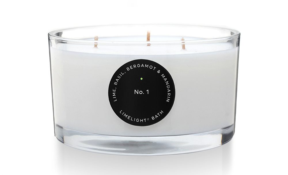 scented candle with 3 wicks