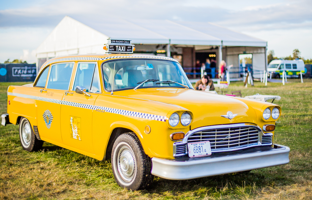 yellow american taxi cab