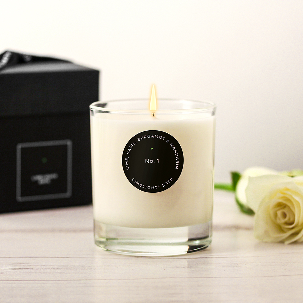 candle with black box and rose