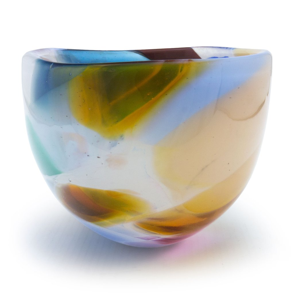handblown glass bowl with yellow, blue and green