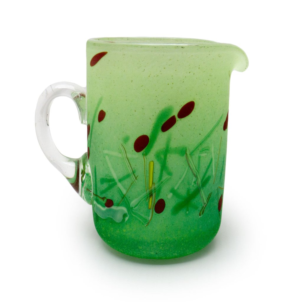 artisan handblown green glass jug with red