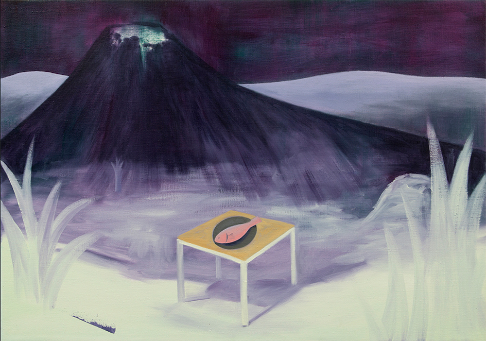painting of volcano with fish on table