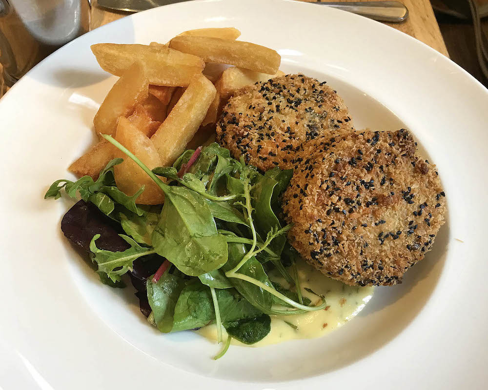 salmon fishcakes, chips and salad